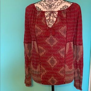 Lucky Brand Longsleeve Breathable Blouse Front Tie